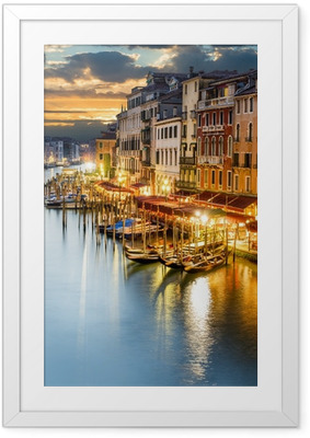Gerahmtes Poster Venezianischer Canal Grande bei Nacht