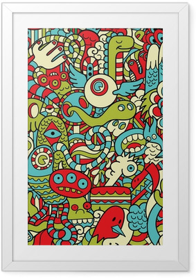 Innrammet plakat Seamless Hipster Doodle Monster Collage Pattern