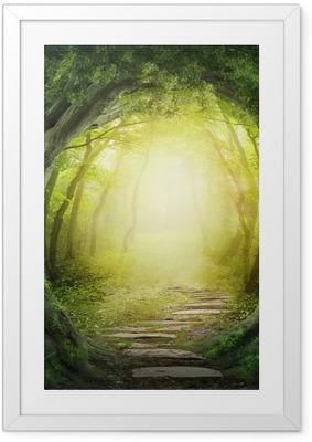 Poster en cadre Route dans la forêt sombre