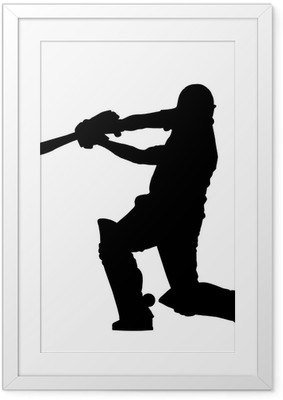 Sport Silhouette - Cricket Batsman Hitting Ground Stroke Framed Poster