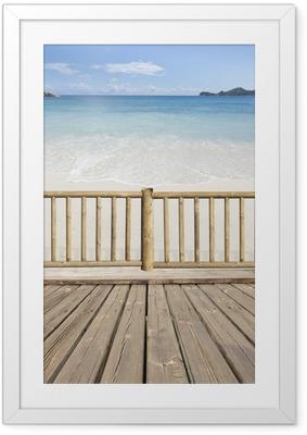 Gerahmtes Poster Terrasse Balkon mit Meerblick auf den Seychellen