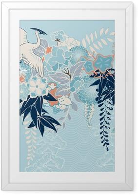 Gerahmtes Poster Japanischen Kimono-Motiv mit Kran und Blumen
