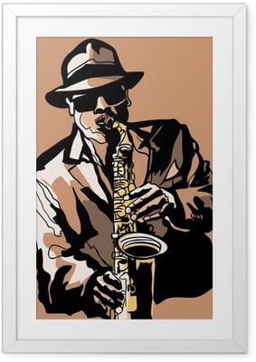 Gerahmtes Poster Saxophone player