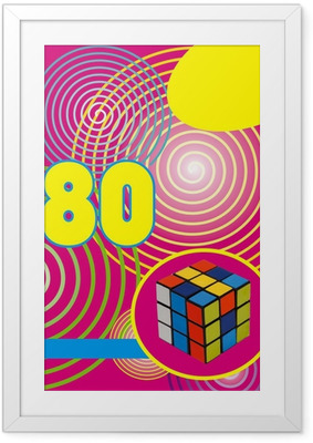 Fond années 80 rumikub Framed Poster