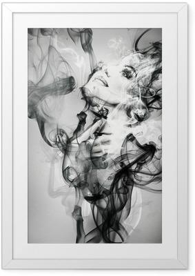 Póster Enmarcado Retrato de mujer abstracta. ejemplo de la acuarela