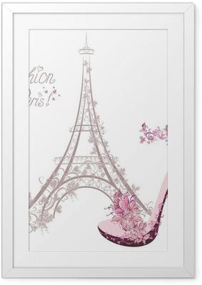 Poster en cadre Chaussures à talons hauts sur fond de Tour Eiffel. Paris Fashion