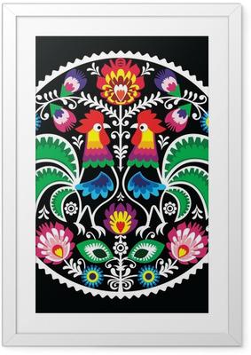 Kiillotus kukka-kirjonta, jossa roosters - perinteinen folk Kehystetty juliste