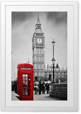Plakat w ramie Czerwona budka telefoniczna i Big Ben w Londynie, Anglii, Wielkiej Brytanii