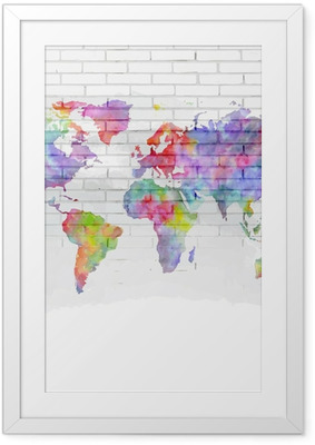 Poster en cadre Aquarelle carte du monde sur un mur de briques