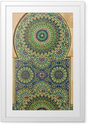 Gerahmtes Poster Kunstvolle Mosaik auf einem marokkanischen Moschee
