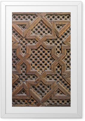 Gerahmtes Poster Marokkanischen Zedernholz Arabesque Carving