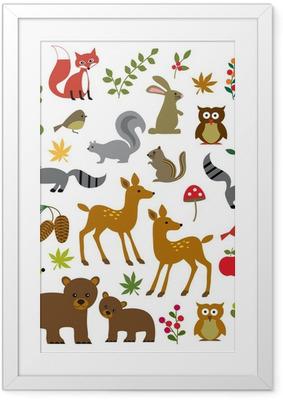Metsäinen villieläin clipart Kehystetty juliste