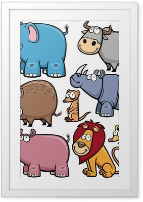 Plakát v rámu Vektorové ilustrace volně žijících živočichů karikatury