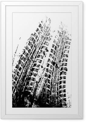 Poster en cadre Fond grunge avec piste de pneu noir, vecteur - Ressources graphiques