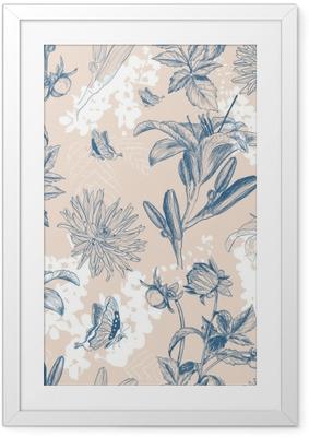 Gerahmtes Poster Retro Blume Vektor-Illustration