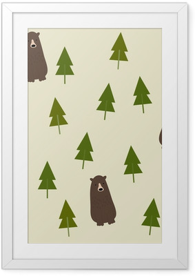 Poster en cadre Bear and forest seamless background.