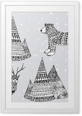Gerahmtes Poster Bären, Hirsche und Berg Hand gezeichnet Wintermuster
