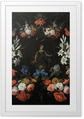 Abraham Mignon - Garland of Flowers Kehystetty juliste