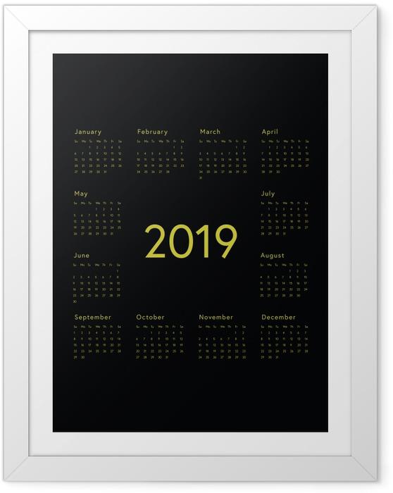 Poster en cadre Calendrier 2019 - noir -