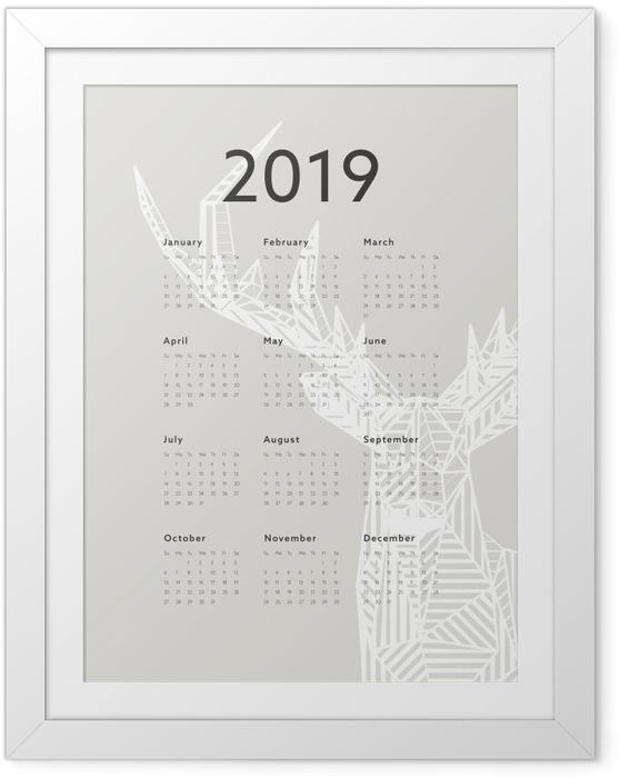 Póster com Moldura Calendário 2019 - veado -