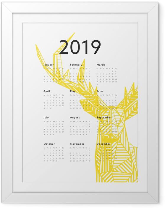 Gerahmtes Poster Kalender 2019 - Hirsch -
