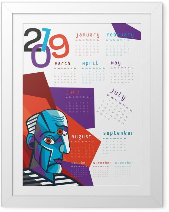 Póster com Moldura Calendário 2019 – Cubismo -