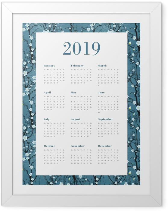 Ingelijste Poster Kalender 2019 - Witte bloemen -