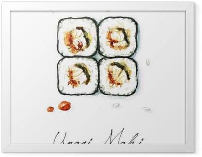 Poster en cadre Aquarelle Alimentation - Unagi Maki