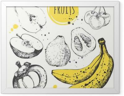 Poster en cadre Banana, mangoustan, pomme, de bergamote. Hand Drawn réglé avec des aliments frais.