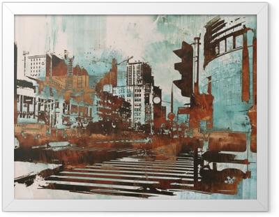 Poster en cadre Paysage urbain avec grunge abstraite, illustration peinture