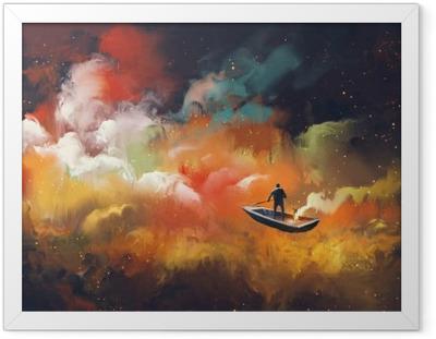 Poster i Ram Man på en båt i yttre rymden med färgglada moln, illustration