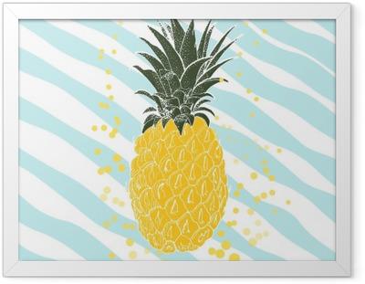 Gerahmtes Poster Hand gezeichnet Ananas. Vektor-Hintergrund