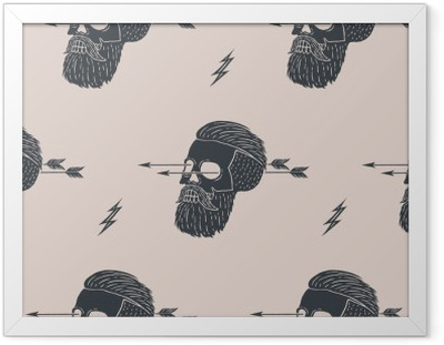 Problemfri mønster baggrund af vintage kranium hipster med pil. Grafisk design til indpakningspapir og stoftekstur af skjorte. Vektor illustration Indrammet plakat