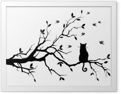 Innrammet plakat Katt på et tre med fugler, vektor