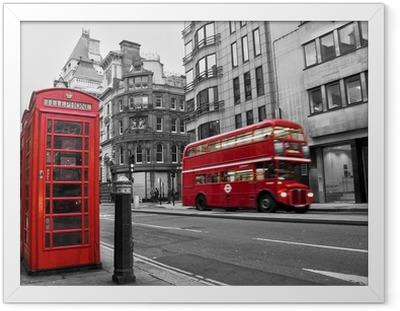 Poster i Ram Telefonkiosk och röd buss i London (Storbritannien)
