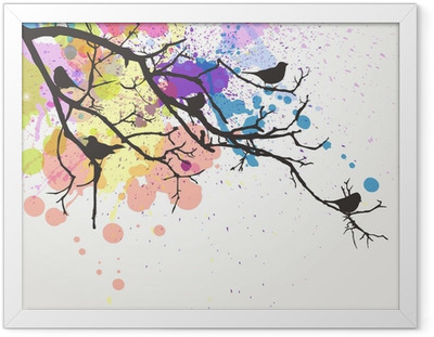 Vector Branch with birds on an abstract background Framed Poster
