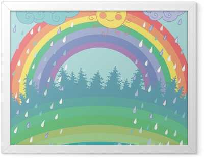 Colorful background with a rainbow, rain, sun in cartoon style Framed Poster