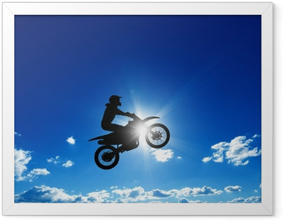 Ingelijste Poster Springen motorrijder