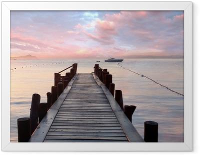 Ingelijste Poster Oude houten steiger in de Middellandse Zee