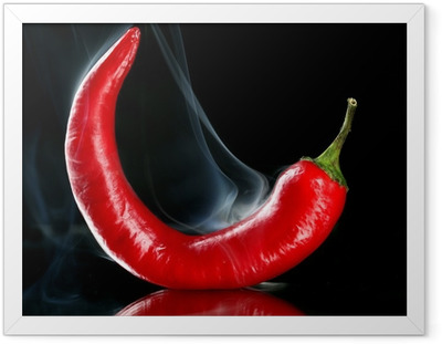 Poster in Cornice Red hot chili pepper isolato su nero