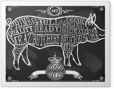 Plakat w ramie Vintage Tablica Wytnij wieprzowe