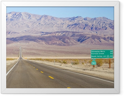 Ingelijste Poster Death Valley landschap en verkeersbord, Californië