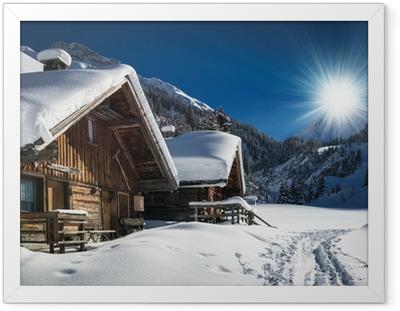 Ingelijste Poster Winter ski chalet en cabine in sneeuw berg landschap in Tirol