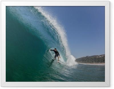 Póster com Moldura Surfing Tube Ride Large Wave