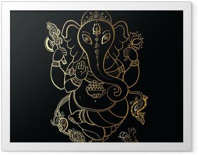 Poster in Cornice Ganesha disegnato a mano illustrazione.