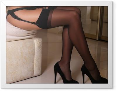 Poster en cadre Jambes sexy de la femme en collants - Sous-vêtements