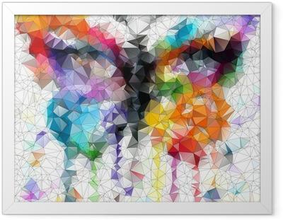 Monivärinen kirkas butterfly abstrakti geometrinen tausta Kehystetty juliste