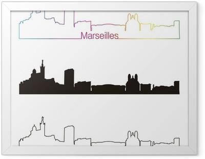 Ingelijste Poster Marseille skyline lineaire stijl met regenboog