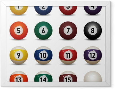Isolated colored pool balls. Numbers 1 to 15 and zero ball Framed Poster