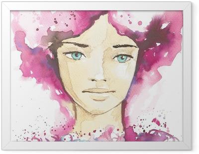 Poster en cadre Illustration du portrait abstrait d'une femme -